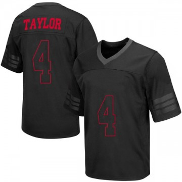 Men's A.J. Taylor Wisconsin Badgers Under Armour Replica Black out College Jersey