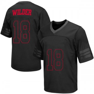 Men's Collin Wilder Wisconsin Badgers Under Armour Replica Black out College Jersey
