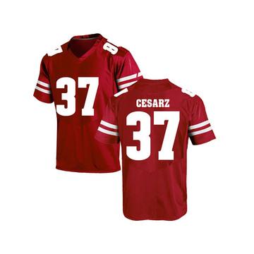 Men's Ethan Cesarz Wisconsin Badgers Under Armour Replica Red College Jersey
