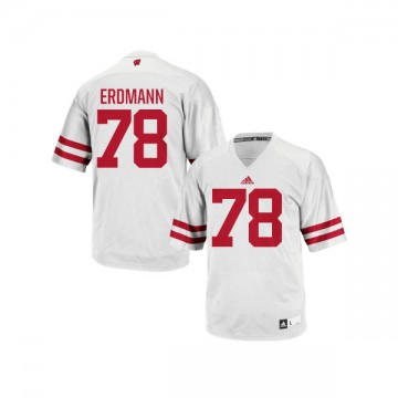 Men's Jason Erdmann Wisconsin Badgers Authentic White adidas Football Jersey -
