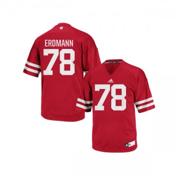 Men's Jason Erdmann Wisconsin Badgers Game Red adidas Football Jersey -