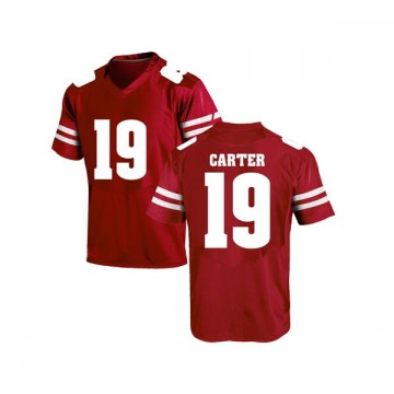 Men's Nate Carter Wisconsin Badgers Under Armour Game Red College Jersey