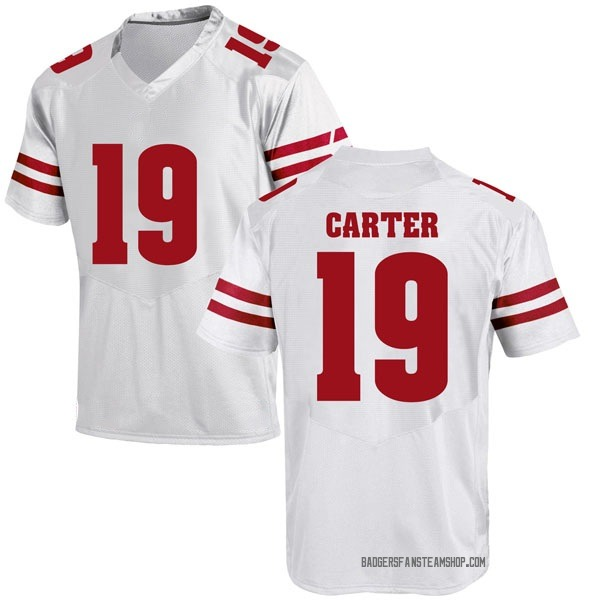Men's Nate Carter Wisconsin Badgers Under Armour Replica White College Jersey