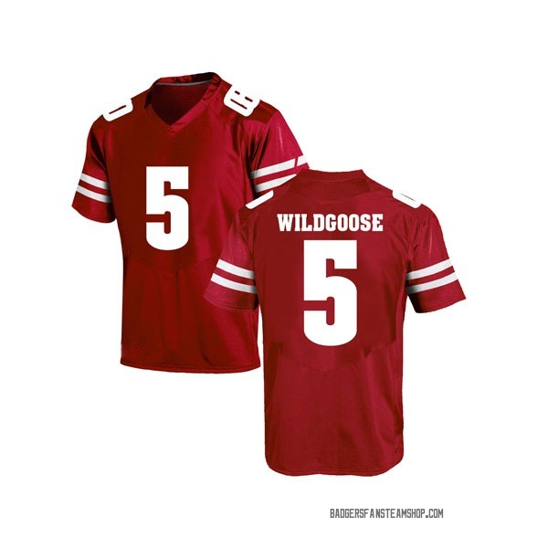 Men's Rachad Wildgoose Wisconsin Badgers Under Armour Game Red College Jersey