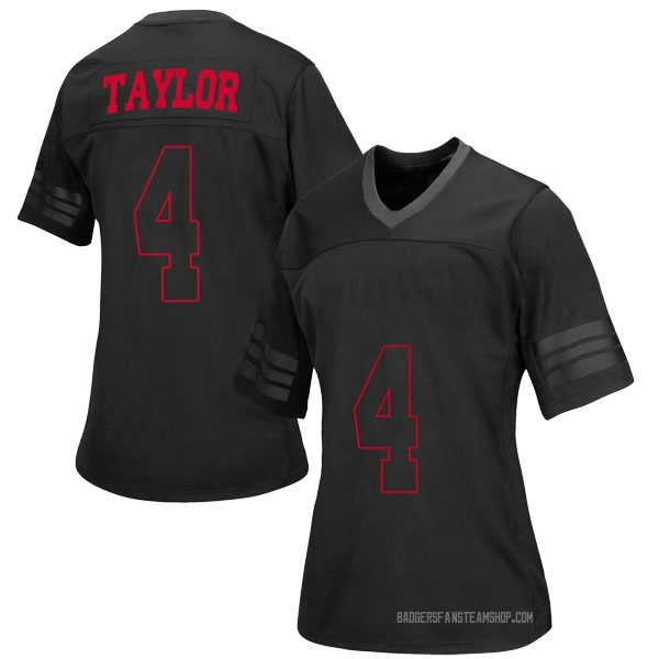 Women's A.J. Taylor Wisconsin Badgers Under Armour Replica Black out College Jersey