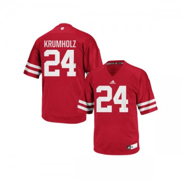 Women's Adam Krumholz Wisconsin Badgers Authentic Red adidas Football Jersey -