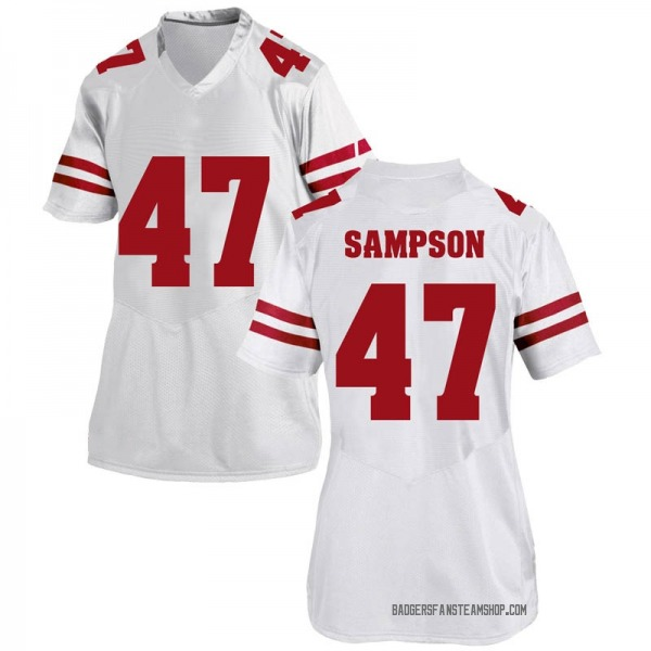 Women's Cormac Sampson Wisconsin Badgers Under Armour Game White College Jersey