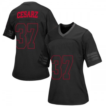 Women's Ethan Cesarz Wisconsin Badgers Under Armour Replica Black out College Jersey