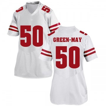 Women's Izayah Green-May Wisconsin Badgers Under Armour Game White College Jersey