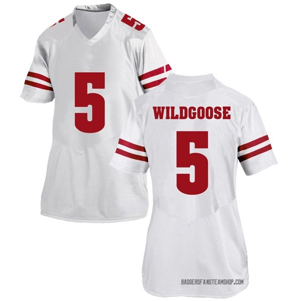 Women's Rachad Wildgoose Wisconsin Badgers Under Armour Game White College Jersey