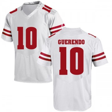 Youth Isaac Guerendo Wisconsin Badgers Under Armour Game White College Jersey
