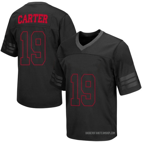 Youth Nate Carter Wisconsin Badgers Replica Black out College Jersey