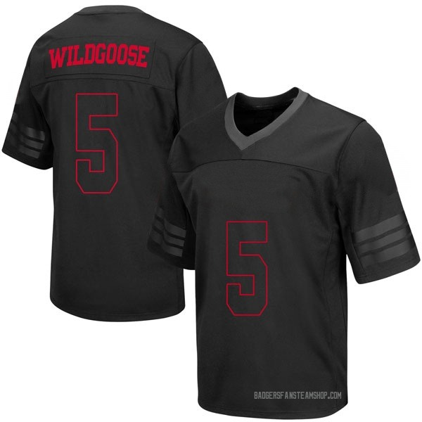 Youth Rachad Wildgoose Wisconsin Badgers Under Armour Game Black out College Jersey